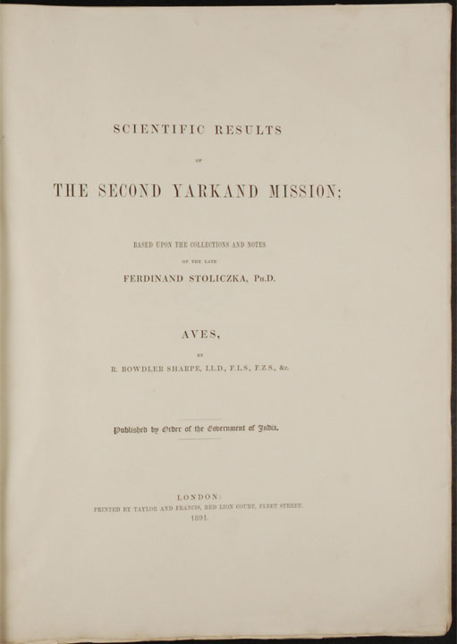 Hart Expedition J >> Scientific Results of the Second Yarkand Mission; based upon the collections and notes by the ...