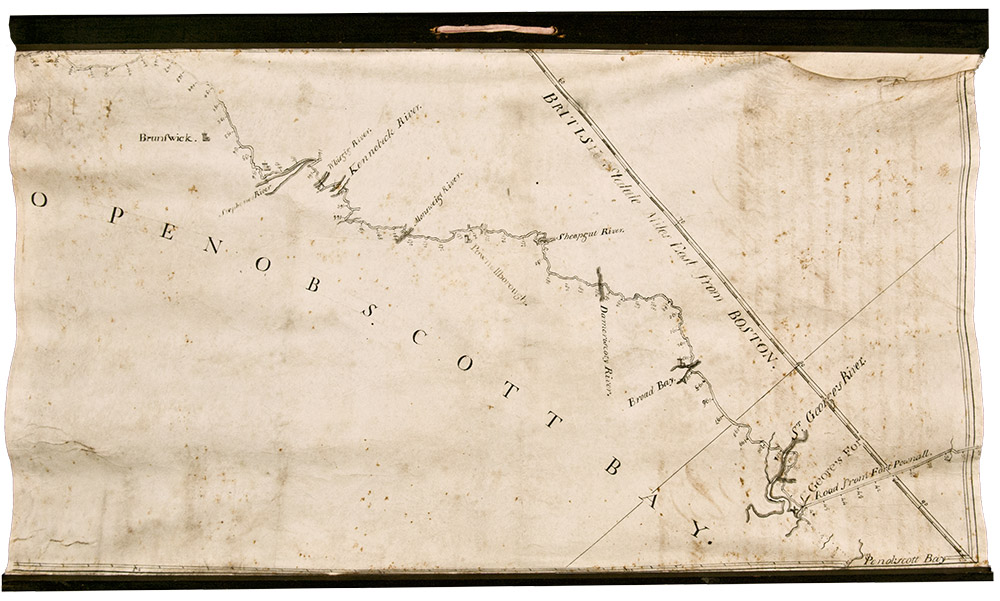 Manuscript Map On Vellum Surveying The Road From Boston To - Road map maine