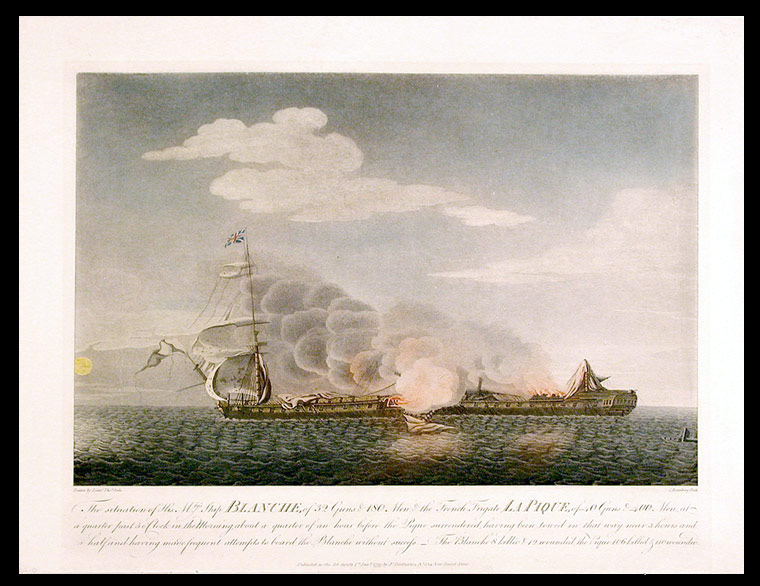 The situation of His Mtys. Ship Blanche, of 32 Guns & 180 Men, & the French Frigate La Pique, of 40 Guns & 400 Men, at a quarter past 5 o'Clock in the Morning, about a quarter of an hour before the Pique surrendered, having been towed in that way near 3 hours and a half, and having made frequent attempts to board the Blanche without success. After Lieutenant Thomas ORDE.