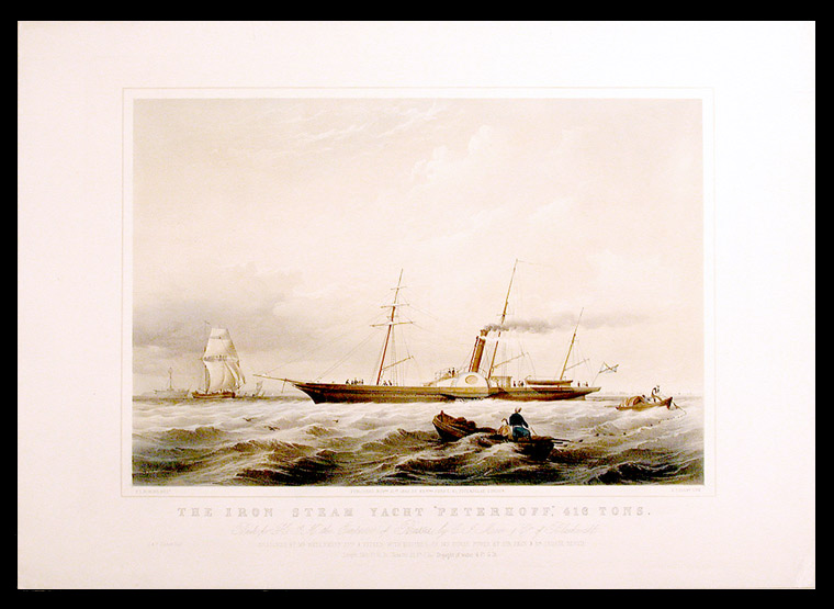 """The iron steam yacht """"Peterhoff"""", 416 tons. Built for H.I.M. the Emperor of Russia, by C.I. More & Co. of Blackwall. After Thomas ROBINS."""