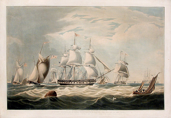 The Right Honourable Lord Yarborough's yacht, The Falcon of 351 tons. After William John HUGGINS.