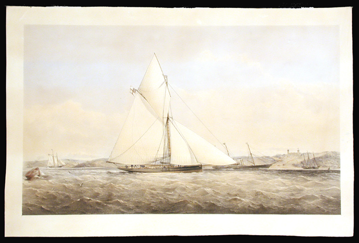[The Prince of Wales Yacht Dagmar in coastal waters off the Isle of Wight]. Thomas Goldsworth DUTTON, - 1891.