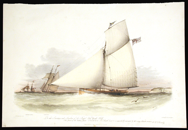 {rtf1ansideff0{fonttbl {f0fswiss MS Sans Serif;}}pardf0fs20 To the Secretary and Members of the Royal Cork Yacht Club This Print of the Cutter Yacht Cygnet (W. Smith Esqre.) is respectfully dedicated}. Sir Oswald Walters BRIERLY.