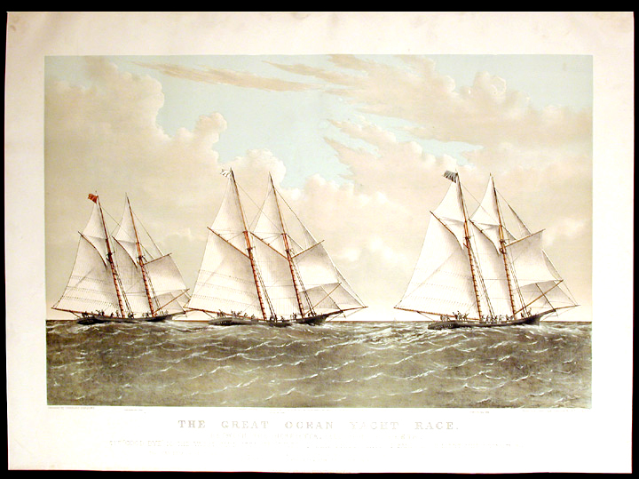 "The Great Ocean Yacht Race. Between the Henrietta, Fleetwing & Vesta. The ""good bye"" to the yacht club steamer ""River Queen"", 4 miles east of Sandy Hook. Light Ship. Decr. 11th. 1866. CURRIER, IVES - After Charles PARSONS, publishers."