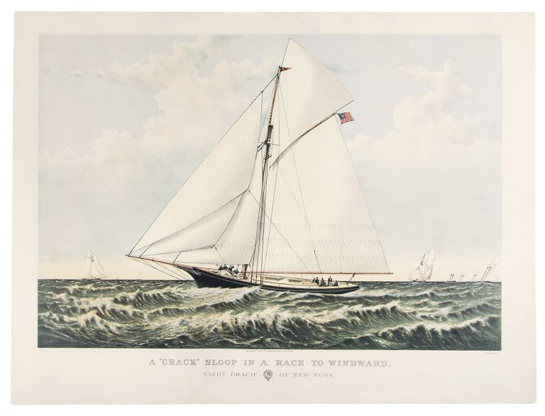 """A """"crack"""" sloop in a race to windward. Yacht Gracie of New York. CURRIER, IVES - After Charles R. PARSONS, publishers."""
