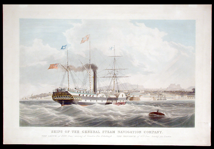 Ships of the General Steam Navigation Company. The Leith, of 1000 Tons, arriving at Granton Pier, Edinburgh. - The Monarch, of 875 Tons, leaving for London. After William John HUGGINS.