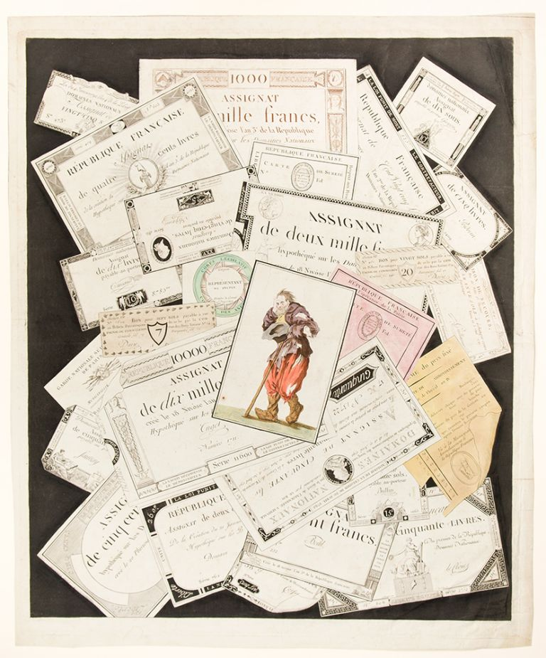 [Trompe l'oeil of paper money and other printed financial ephemera]. After Nicolas Marie GATTEAUX.