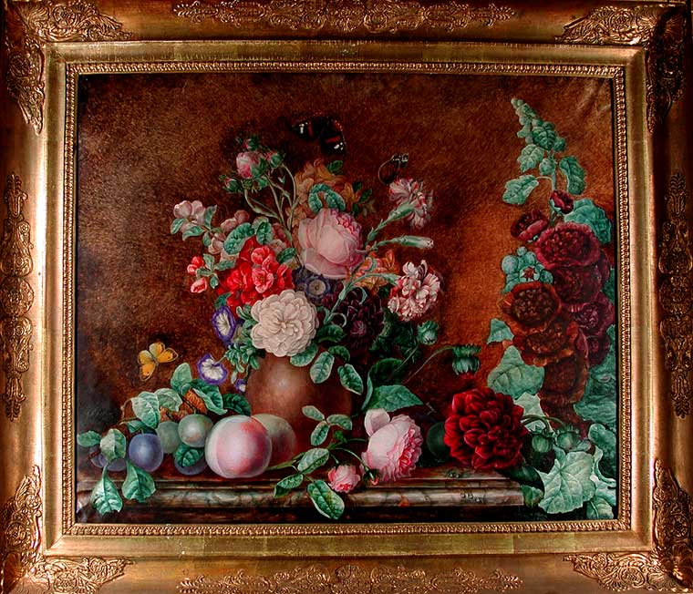 A still-life of flowers in an unglazed earthenware pot, fruit and flowers strewn on the ledge around the pot. Gabrielle FONTAINE, 19th century.