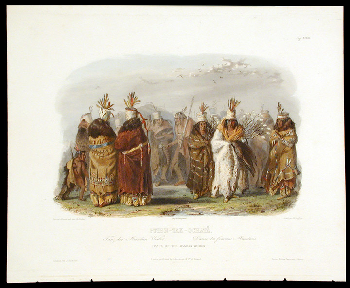 Ptihn-Tak-Ochatä. Dance of the Mandan Women. Karl BODMER.