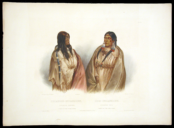Woman of the Snake Tribe. Woman of the Cree Tribe. Karl BODMER.