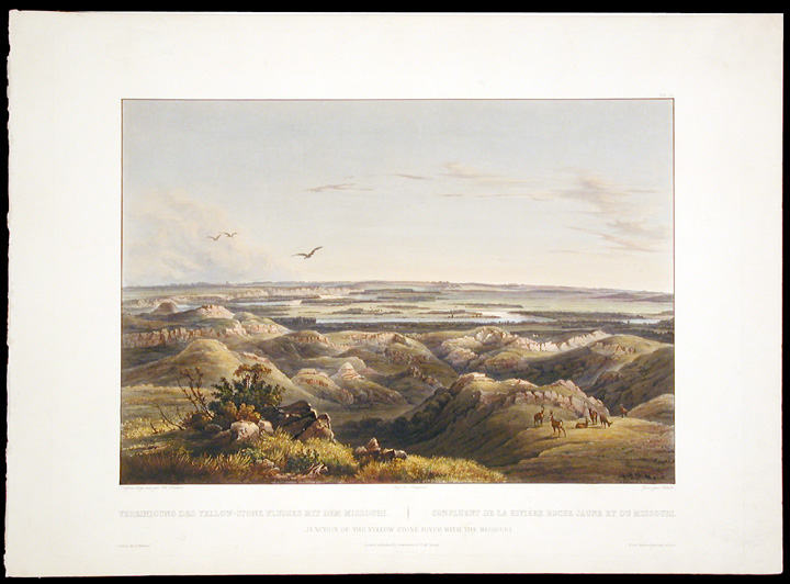 Junction of the Yellow-Stone River with the Missouri. Karl BODMER.