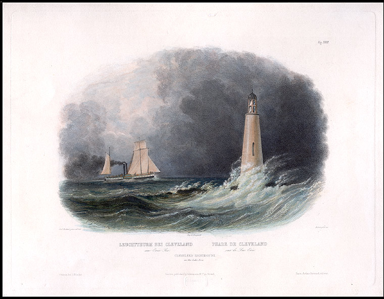 Cleveland Lighthouse on Lake Erie. Karl BODMER.