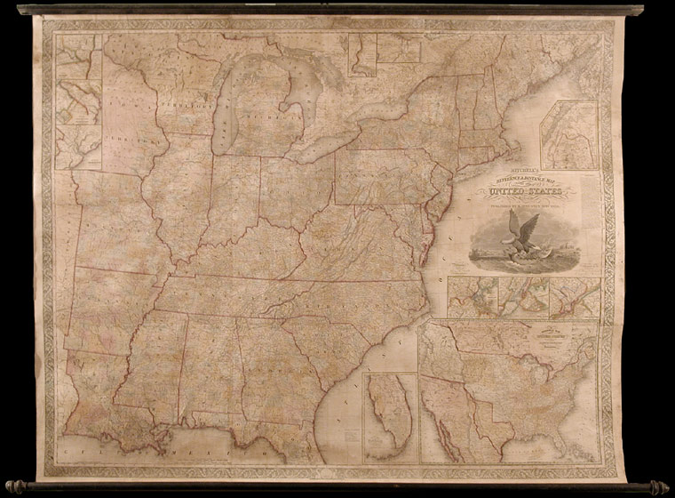 Mitchell's Reference and Distance Map of the United States. S. Augustus MITCHELL, James H. YOUNG, fl.
