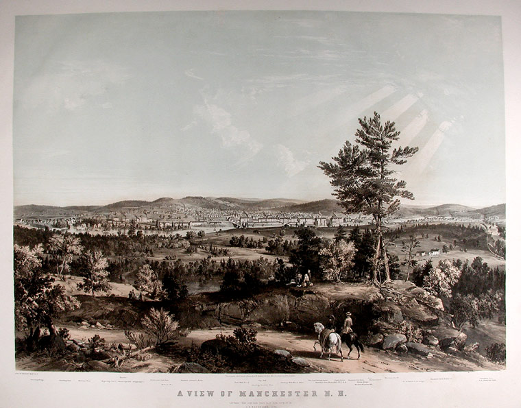 A View of Manchester N.H. Composed from Sketches taken near Rock Raymond by J. B. Bachelder, 1855. J. B. BACHELDER.
