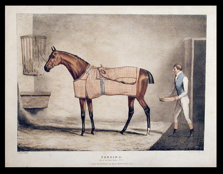 Life of the Race Horse: Watering [No. 5]; Sweating [No. 7]; Rubbing, after a sweat [No. 8]; Feeding [No. 9]. John DOYLE.