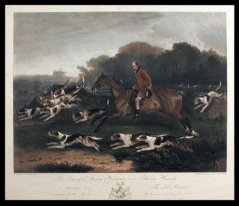 This Print of T. Goosey, Huntsman, to the Belvoir Hounds, is dedicated to the Lord Forrester, master of the hunt. After Richard Barrett DAVIS.