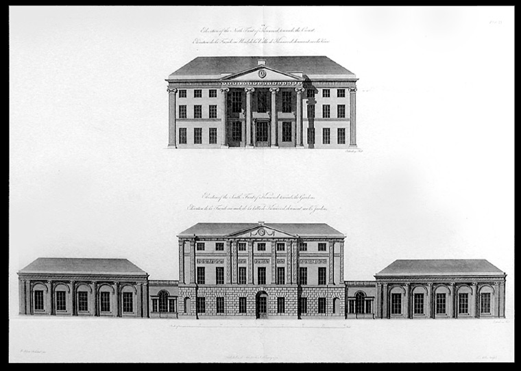 Elevation of the North Front of Kenwood, towards the Court... Elevation of the South Front of Kenwood, towards the Gardens. After Robert ADAM, James, d.1794.