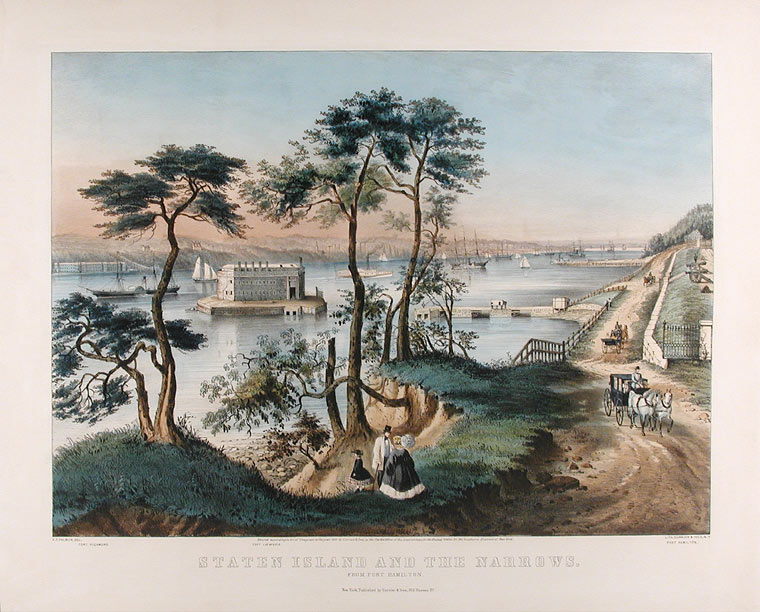 Staten Island and the Narrows: from Fort Hamilton. Frances F. PALMER, lithographer.