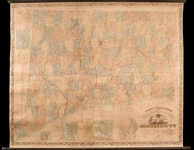 Clark & Tackaburys New Topographical Map of the State of Connecticut. Compiled from New and Accurate Surveys of each County, and the United States Trigonometrical Surveys of Long Island Sound. G. H. HOPKINS.