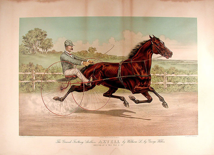 The Grand Trotting Stallion Axtell by William L., by George Wilkes, record at 3 yrs. old 2: 12. CURRIER, IVES, publishers.
