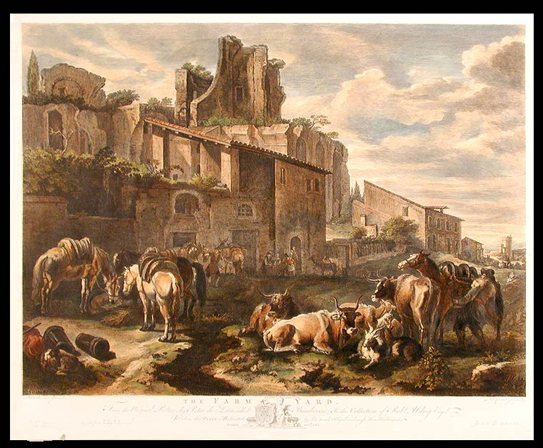 The Farm Yard. From the Original Picture, by Peter de Laër, called Bamboccio; In the Collection of Robt. Udney Esqr. After Pieter van LAER, Boddingh, 1599-?1642, called 'il Bamboccio'.
