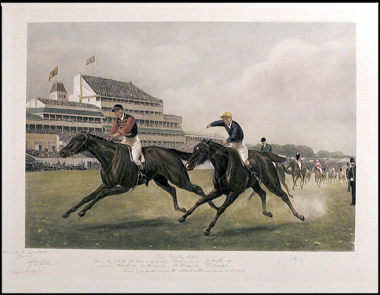 """The Derby 1896. won by H.R.H. The Prince of Wales' Persimmon. J. Watts. up. Second. Mr L. de Rothschild's St. Frusquin T. Loates. Won by a neck, amid the wildest enthusiasm. 11 started"" After Major Godfrey Douglas GILES."