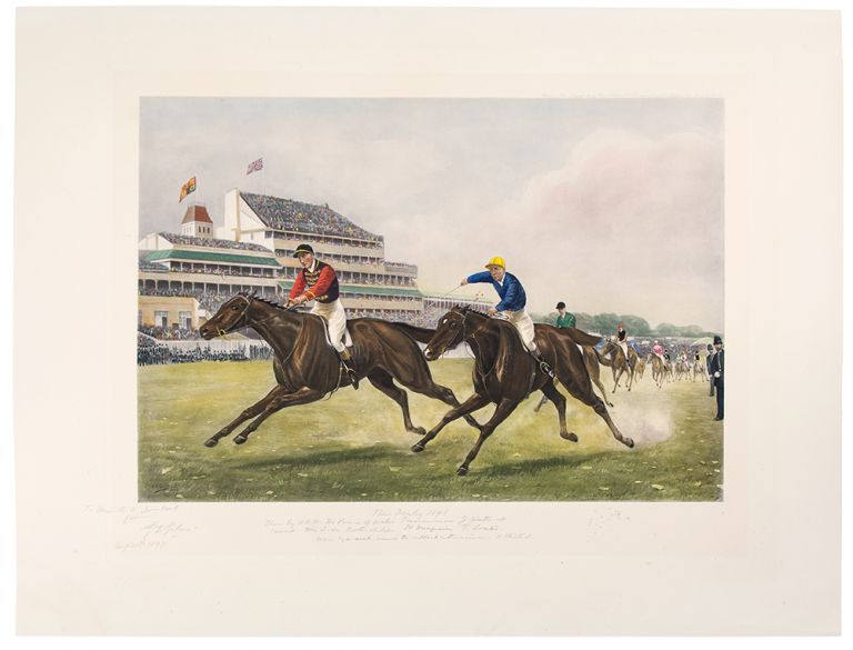 """""""The Derby 1896. won by H.R.H. The Prince of Wales' Persimmon. J. Watts. up. Second. Mr L. de Rothschild's St. Frusquin T. Loates. Won by a neck, amid the wildest enthusiasm. 11 started"""" After Major Godfrey Douglas GILES."""