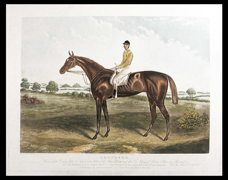 Shotover, Winner of the Derby Stakes at Epsom 1882, Value of the Stakes £4800 and the Two Thousand Guineas at Newmarket. got by Hermit out of Stray Shot. The Property of His Grace the Duke of Westminster. Won the Ascot Derby 1882. Trained by John Porter - Ridden by Tom Cannon. Edwin Henry HUNT.