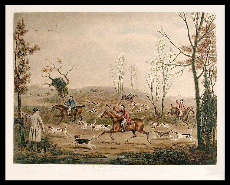 To Sir Mark Masterman Sykes Bart. This Plate of his Fox Hounds Breaking Cover, is with great respect dedicated. William after Henry Bernard CHALON WARD.