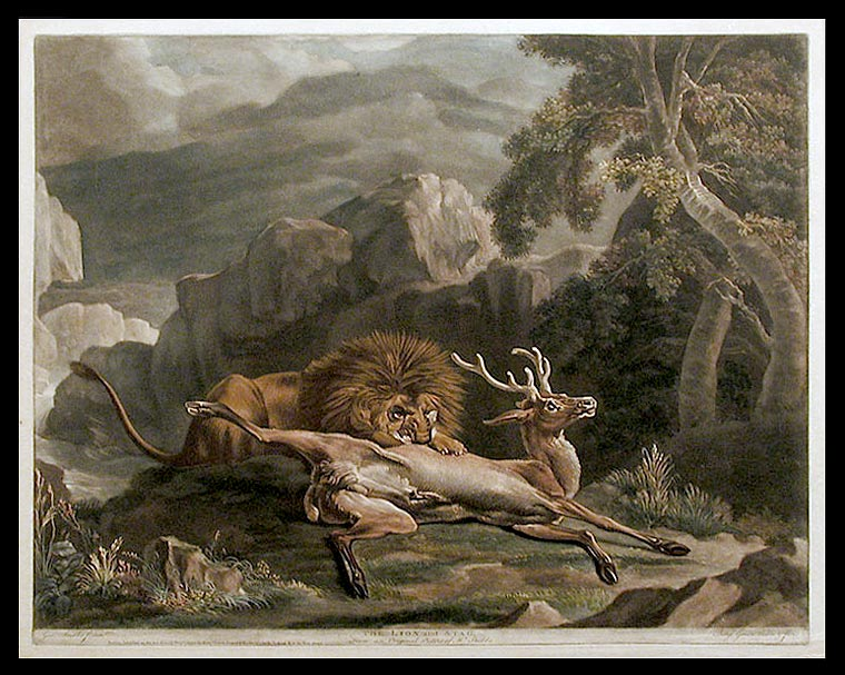 The Lion and Stag. From an Original Picture of Mr. Stubbs. George STUBBS, Benjamin Green.