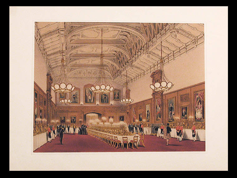 PAIR OF VIEWS: [Waterloo Chamber] [and] [St. George's Hall. The Garter Banquet in 1844. The guests seated, Windsor Castle. After Joseph NASH.