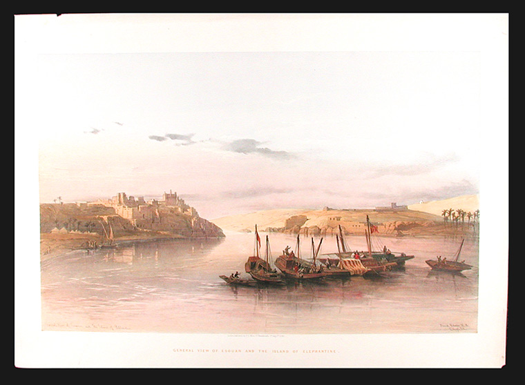 General View of Esouan and the Island of Elephantine. After David ROBERTS.
