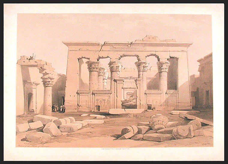 Portico of the Temple of Halabshi. After David ROBERTS.