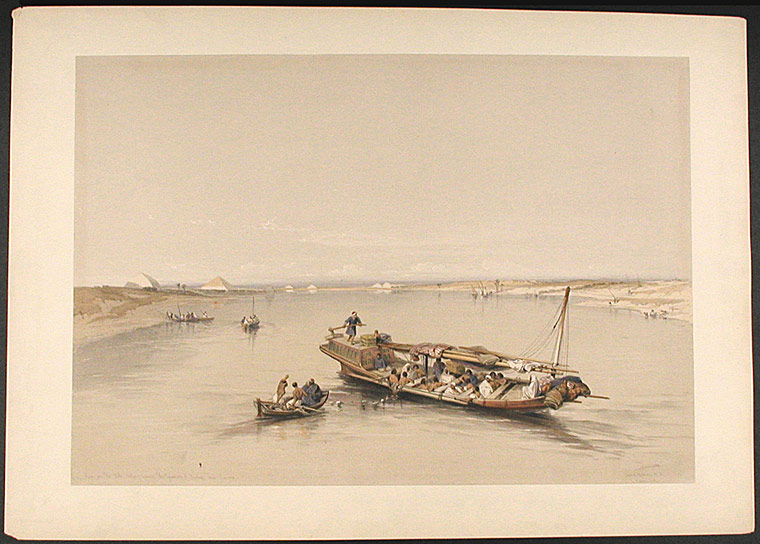 View of the Nile Looking Towards the Pyramids of Dashour and Saccara. After David ROBERTS.