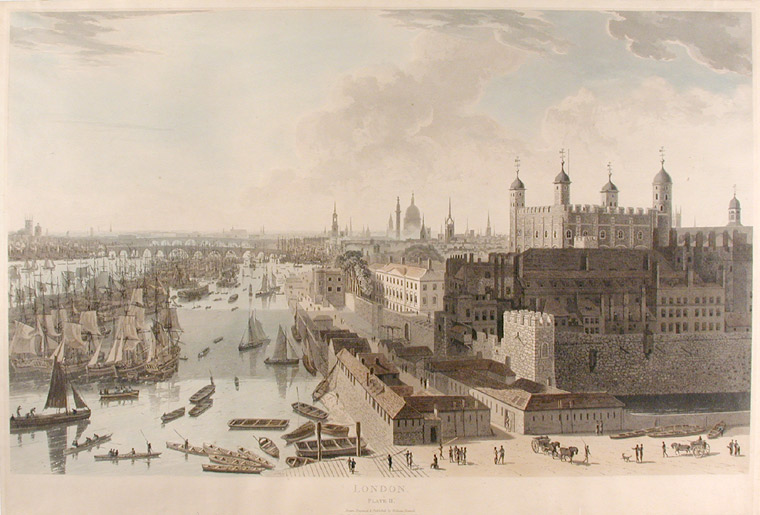 London Plate II [The Tower and Pool of London]. William DANIELL.