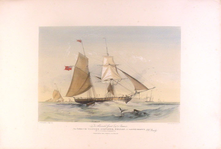 To Alexander Grant Esqre. of Carnousie This Portrait of the Clipper Schooner, Hellas, is respectfully dedicated by O.W. Brierly (Mr. A.A. Scanlon, Commander). After Sir Oswald Walters BRIERLY.