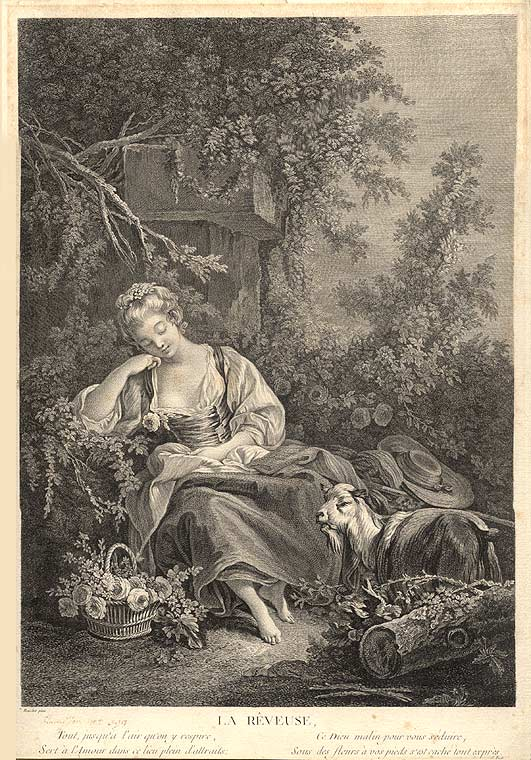 La Rêveuse. [The Dreamer]. after François BOUCHER, Jacques Frimin Beauvarlet.