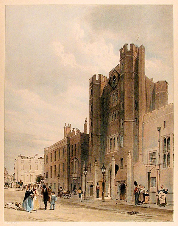 N. Front to St. James's Palace, From Cleveland Row. Thomas SHOTTER BOYS.