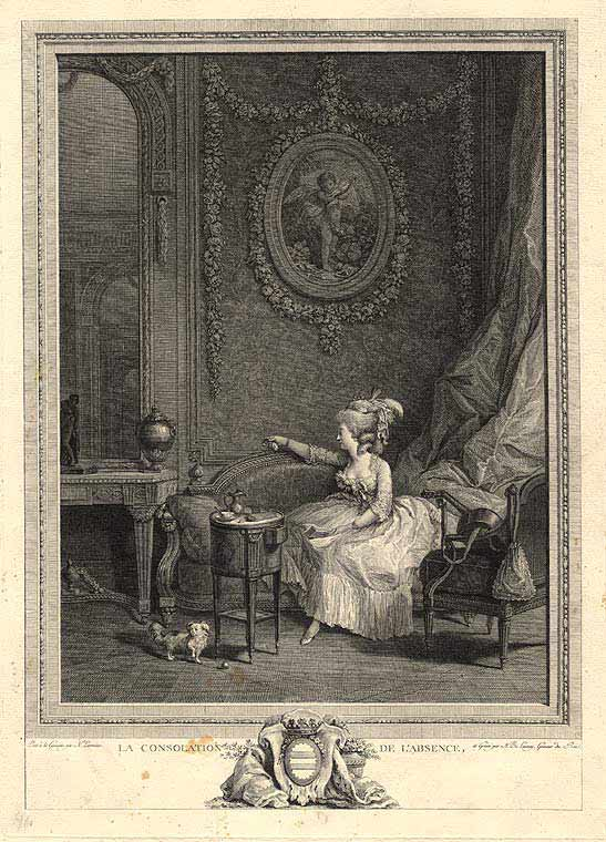 La Consolation de L'Absence. Nicolas after Nicolas LAVREINCE DE LAUNAY.