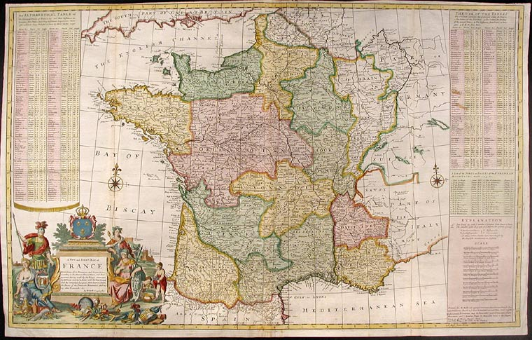 Map Of France Provinces.A New And Exact Map Of France Dividid Into All Its Provinces And