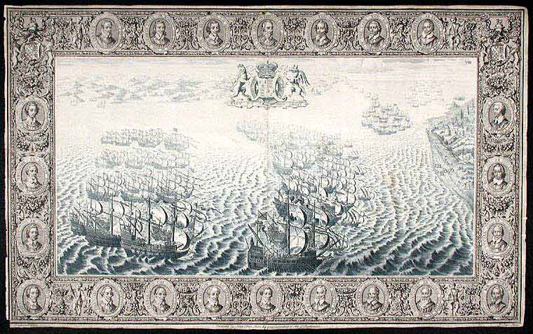 [Plate illustrating the defeat of the Spanish Armada by the English Fleet under the command of Lord Howard of Effingham in 1588]. John PINE.