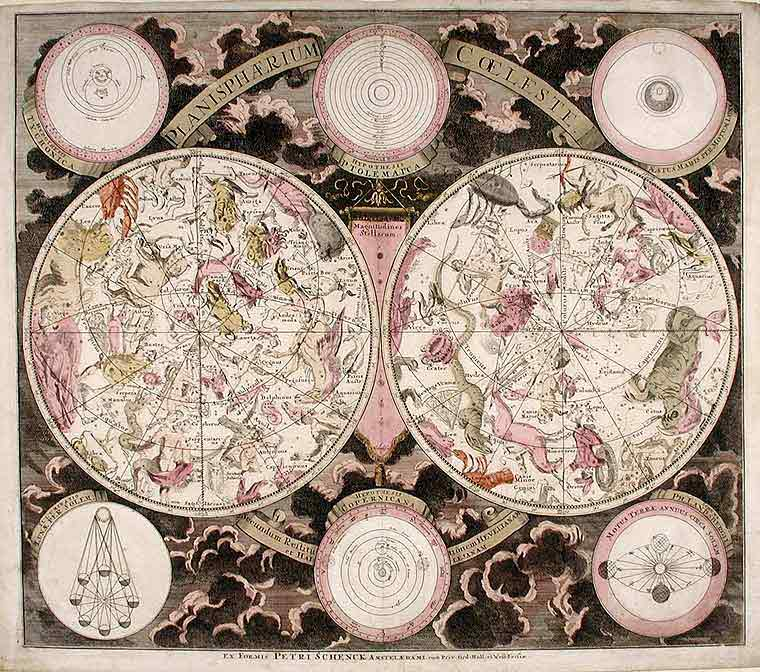 [Double Hemisphere Celestial Chart with Classical Constellations] Planisphærium Coeleste. Peter SCHENCK.