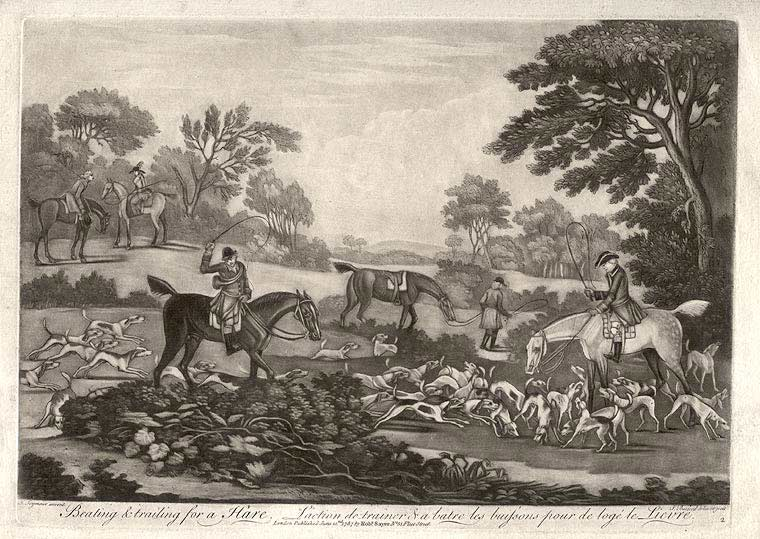 Beating & Trailing for a Hare. L'action de trainer & a batre les buissons pour de lage le Lievre. James SEYMOUR, Thomas BURFORD.