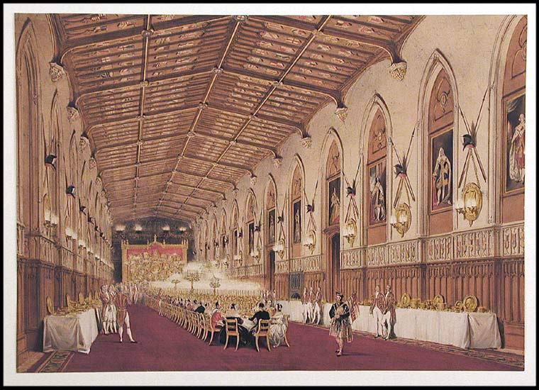 [St. George's Hall. The Garter Banquet in 1844. The guests seated, Windsor Castle. After Joseph NASH.