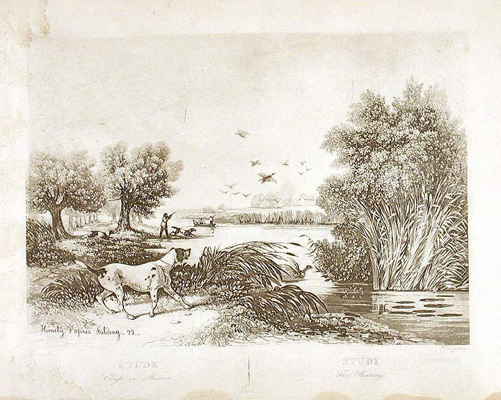 Study Fen Shooting. Sigismond - After Newton FIELDING HIMELY, engraver.