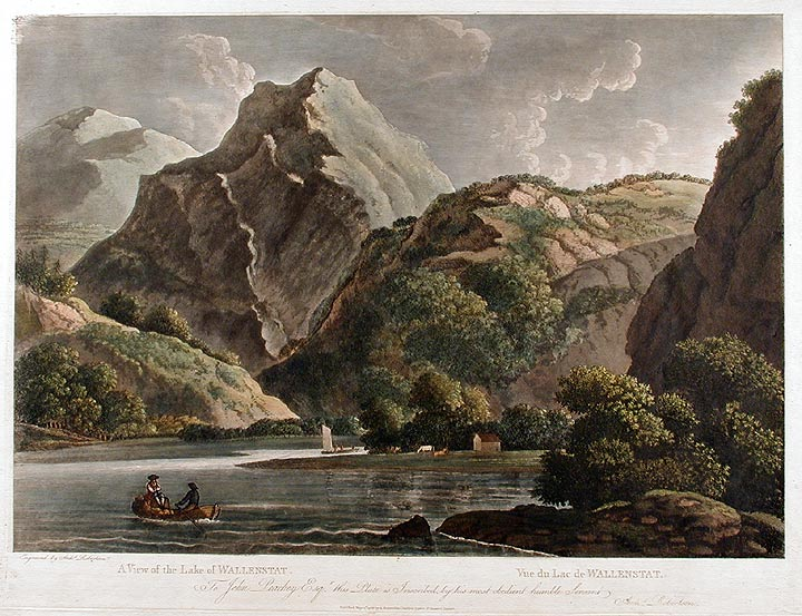 Suite of six views: [1]: [Bareges in the Pyrenees] after a painting by G. Barrett; [2]: View of the East Front of the Wonderful Natural Bridge of Veja; [3]: A View of Recoaro; [4]: [Falls of the Gava.] after a painting by G. Barrett; [5]: A View of the Lake of Wallenstat; [6]: View of the Ruins of a Roman Arch at Aix in Savoy. Archibald ROBERTSON.