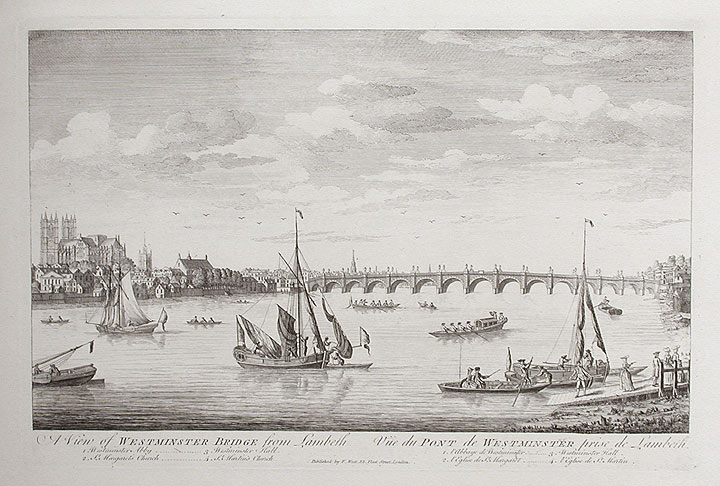 A View of Westminster Bridge from Lambeth / Vüe du Pont de Westminster, prise de Lambert. ANONYMOUS.