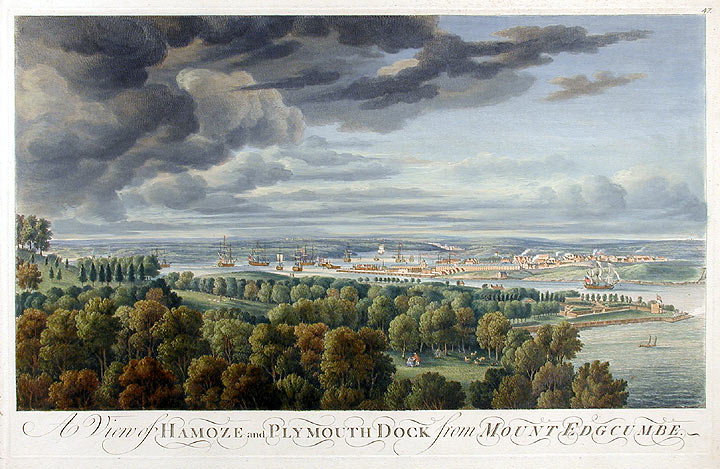 A View of Hamoze and Plymouth Dock from Mount Edgcumbe. James after George LAMBERT MASON, Samuel SCOTT, Coplestone Warre BAMBPFYLDE, 1710-c.1786, 1710?-1772, d.1791.