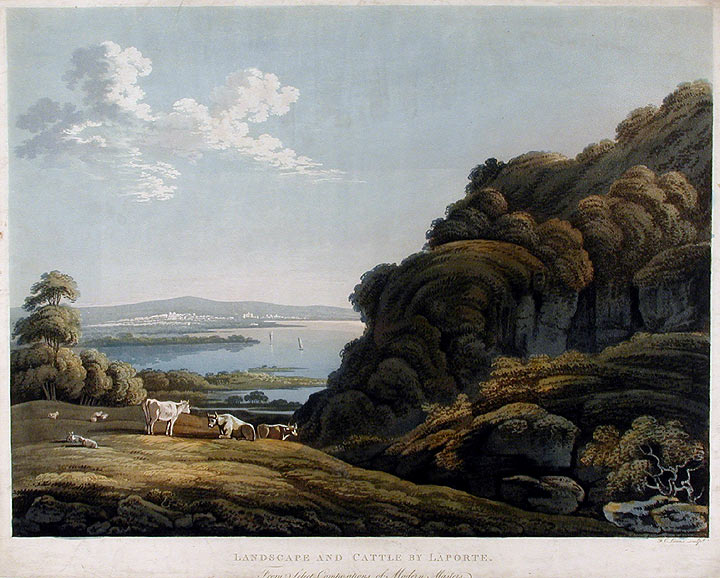 Landscape and Castle by Laporte. Frederick Christian LEWIS, after John LAPORTE.