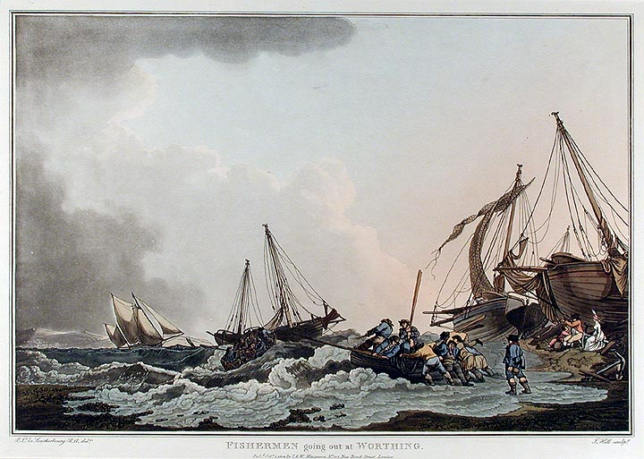 Fishermen going out at Worthing. J. after Philippe Jacques LOUTHERBOURG HILL.